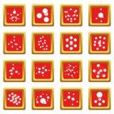 Los iconos de la molécula fijaron vector del cuadrado rojo Imagenes de archivo