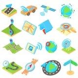 Los iconos de la navegación fijaron, estilo isométrico del estilo 3d Foto de archivo libre de regalías