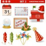 Los iconos de la Navidad del vector fijaron 2 Imagen de archivo libre de regalías