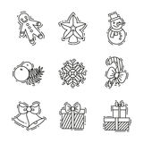 Los iconos de la Navidad fijan, vector el esquema decorativo para el negocio Foto de archivo libre de regalías