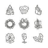 Los iconos de la Navidad fijan, vector el esquema decorativo para el negocio Fotografía de archivo libre de regalías