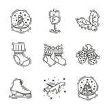 Los iconos de la Navidad fijan, vector el esquema decorativo para el negocio Imagenes de archivo