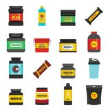Los iconos de la nutrición del deporte de la proteína fijaron, estilo plano stock de ilustración