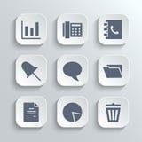 Los iconos de la oficina fijan - vector los botones blancos del app Fotos de archivo