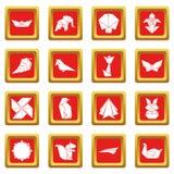 Los iconos de la papiroflexia fijaron vector del cuadrado rojo Imágenes de archivo libres de regalías