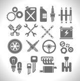 Los iconos de la pieza del coche fijaron en un fondo ligero Vector Fotos de archivo