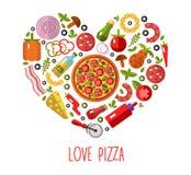 Los iconos de la pizza en forma del corazón Fotos de archivo