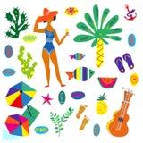 Los iconos de la playa fijaron, diseño brillante divertido, ejemplo del vector stock de ilustración