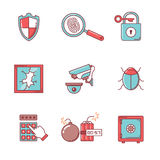 Los iconos de la seguridad y del cybersecurity enrarecen la línea sistema Imagen de archivo