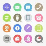 Iconos de la tela de la comunicación fijados Imágenes de archivo libres de regalías