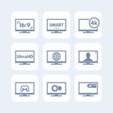 Los iconos de la TV fijaron, relación de aspecto, 4k pantalla, ultra hd Imagenes de archivo