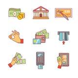 Los iconos de las actividades bancarias enrarecen la línea sistema Operaciones de la moneda Imágenes de archivo libres de regalías