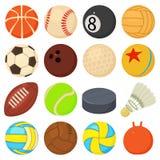 Los iconos de las bolas del deporte fijaron los tipos del juego, estilo de la historieta ilustración del vector