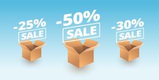 Los iconos de las cajas de cartón de la entrega de la bandera de la venta - descuente el vecto de la venta ilustración del vector