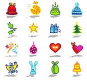 los iconos de las celebraciones fijaron 1 Imagen de archivo