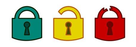 Los iconos de las cerraduras fijaron rojo amarillo verde de la protección ilustración del vector