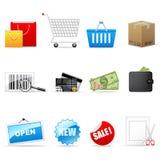 Los iconos de las compras fijaron stock de ilustración
