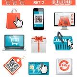 los iconos de las compras fijaron 2 Foto de archivo libre de regalías