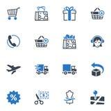 Los iconos de las compras y del comercio electrónico, fijaron 1 - serie azul Fotos de archivo libres de regalías