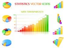 Los iconos de las estadísticas fijaron Fotografía de archivo