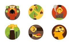 Los iconos de las finanzas del negocio en blanco fijaron 2 Ilustración del vector stock de ilustración