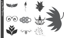 Los iconos de las hojas fijaron 4 stock de ilustración