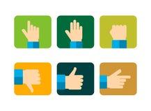 Los iconos de las manos fijaron, ejemplo plano del vector del diseño Imagenes de archivo