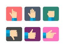 Los iconos de las manos fijaron, ejemplo plano del vector del diseño Foto de archivo libre de regalías