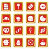 Los iconos de las tortas del caramelo de los dulces fijaron vector del cuadrado rojo Fotografía de archivo libre de regalías