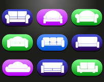Los iconos de los muebles de los sofás y de los sofás fijaron para el ejemplo cómodo de la sala de estar Imagen de archivo