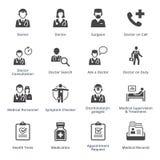 Los iconos de los servicios médicos fijaron 3 - serie negra Fotos de archivo libres de regalías