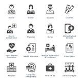 Los iconos de los servicios médicos fijaron 4 - serie negra Fotografía de archivo
