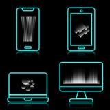 Los iconos de neón azules de la tecnología con reflejan en fondo negro ilustración del vector