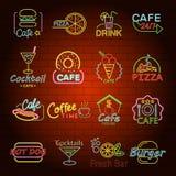 Los iconos de neón de la muestra de la tienda de los alimentos de preparación rápida fijaron, estilo plano Fotos de archivo libres de regalías