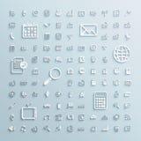 Los iconos de papel fijaron de Internet de la oficina de los eventos de las finanzas Imágenes de archivo libres de regalías