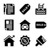 Los iconos de Real Estate lían ilustración del vector