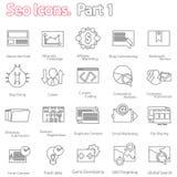 Los iconos de SEO fijaron la parte 1 línea vector moderno del diseño Foto de archivo