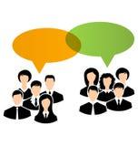 Los iconos de unidades de negocio comparten sus opiniones, bub del discurso de los diálogos Imagen de archivo