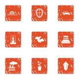 Los iconos del área del eco de la contaminación fijaron, estilo del grunge Fotos de archivo