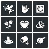 Los iconos del amor fijaron stock de ilustración