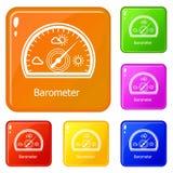 Los iconos del barómetro fijaron color del vector ilustración del vector