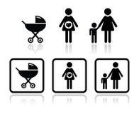 Los iconos del bebé fijaron - el carro, mujer embarazada, familia Fotografía de archivo