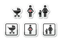 Los iconos del bebé fijaron - el parm, embarazo, madre Fotografía de archivo libre de regalías