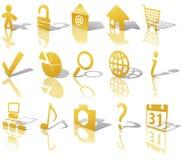 Los iconos del botón del oro del Web fijaron 1 sombra reflejan anguloso stock de ilustración