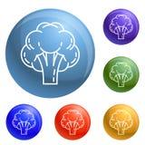 Los iconos del bróculi fijaron vector ilustración del vector