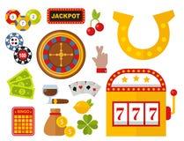 Los iconos del casino fijaron con el ejemplo del vector del juego de póker de la máquina tragaperras del comodín del jugador de l libre illustration