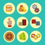 Los iconos del casino fijaron con el ejemplo del vector del juego de póker de la máquina tragaperras del comodín del jugador de l stock de ilustración