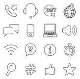 Los iconos del centro del servicio de atención al cliente o de ayuda enrarecen la línea sistema del ejemplo del vector ilustración del vector