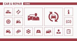 Los iconos del coche y de la reparación - fije la web y el móvil 01 ilustración del vector