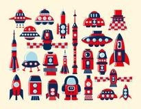 Los iconos del cohete retro fijaron el elemento Imagen de archivo